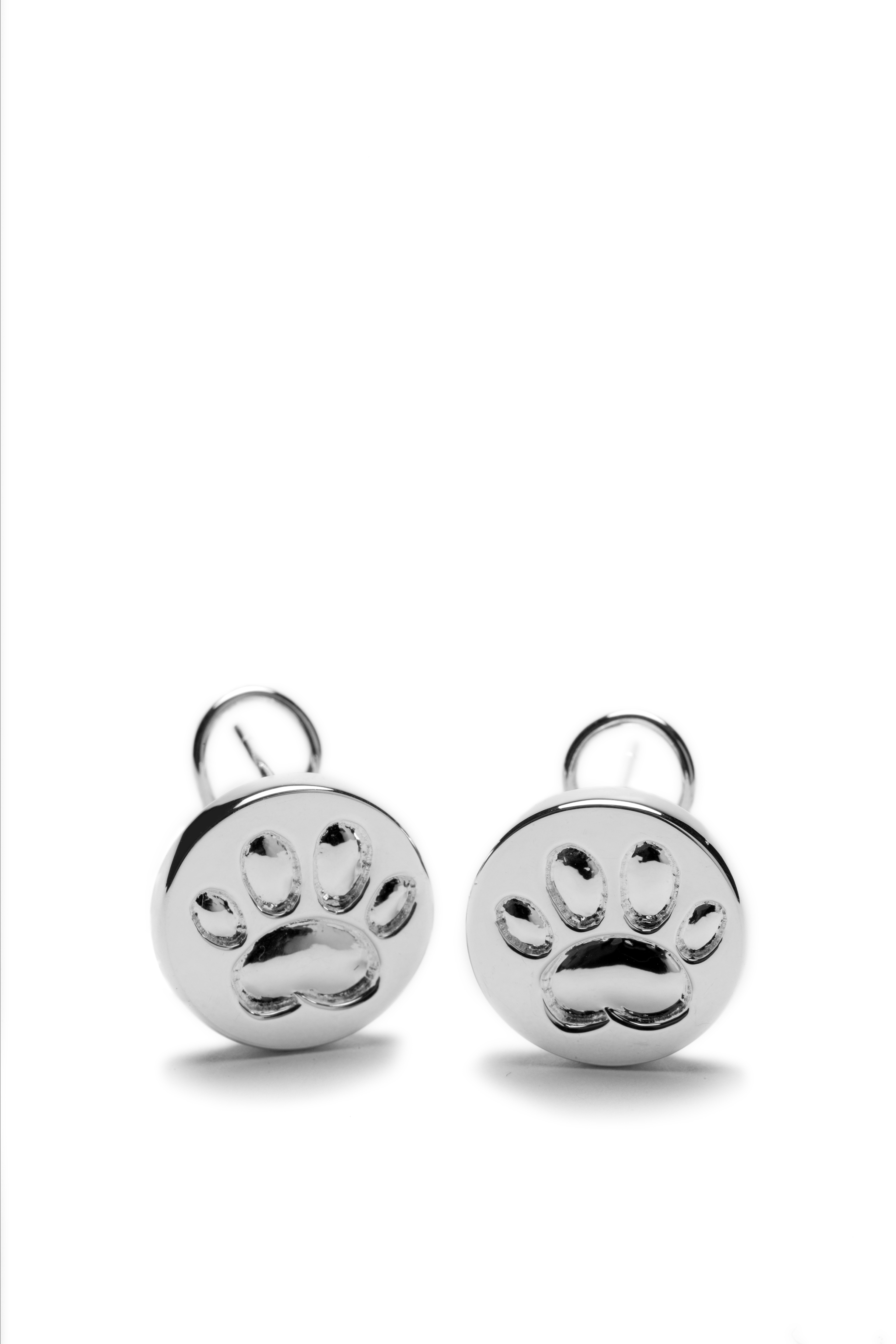Silver Paw Cavachons: Sterling Silver Paw Print Earring