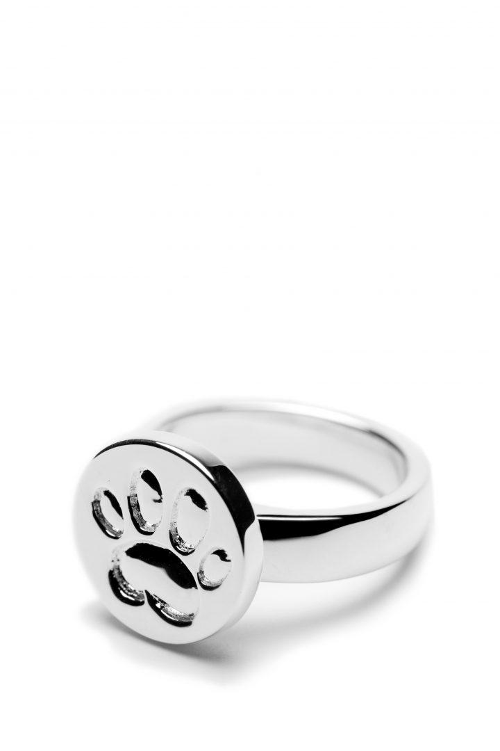 LWCCR08-SS paw print ring