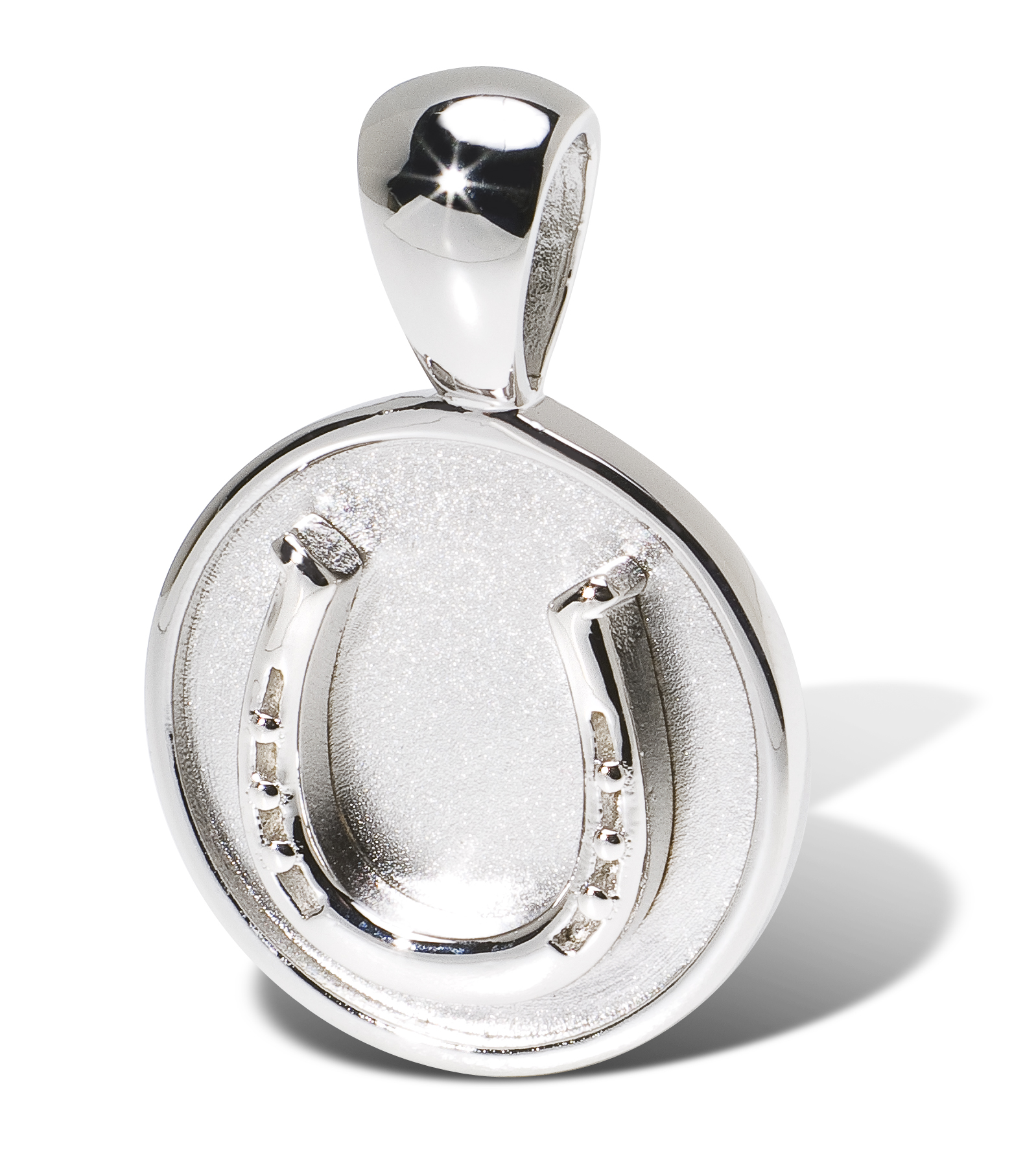 Disk Silvers: Horse Shoe On Disc Pendant Sterling Silver