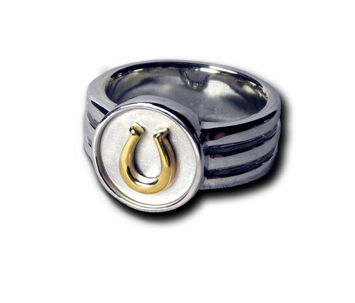 LWECR05-SS:18YG  horse shoe ring