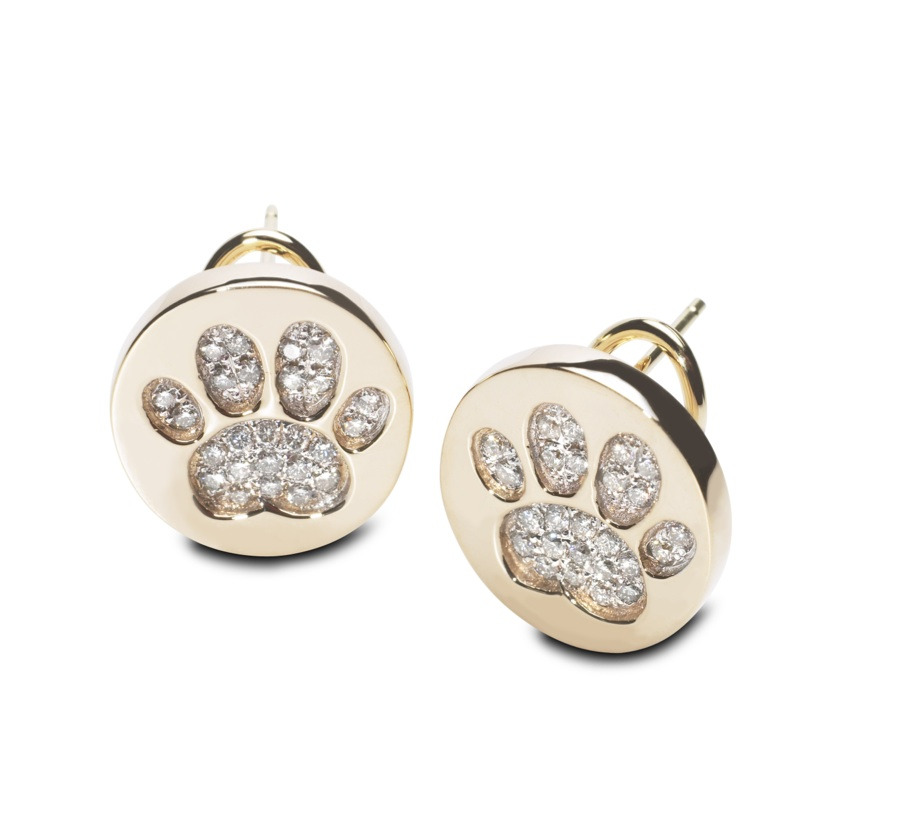 Paw Print Diamond Earrings 14kt Yg