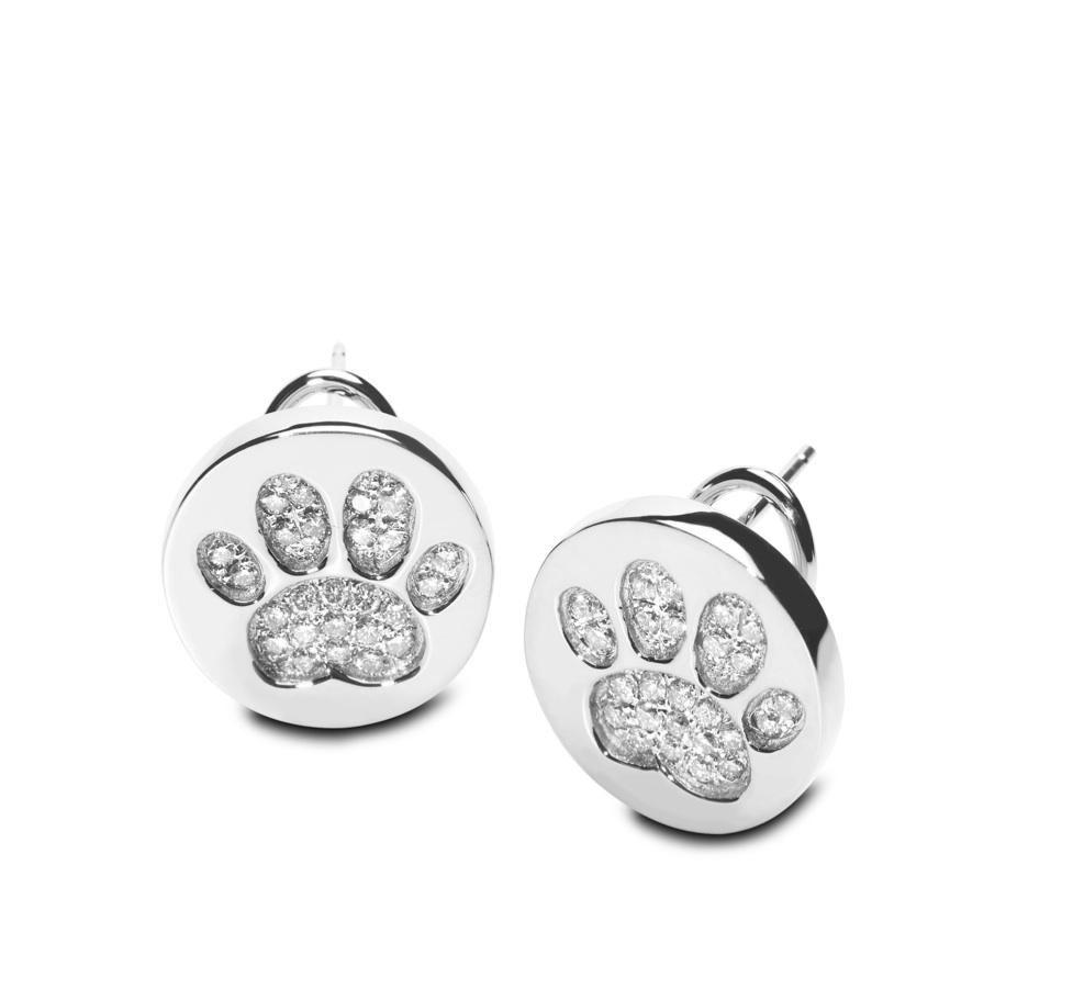 14kt Wg Diamond Pave Paw Print Earrings