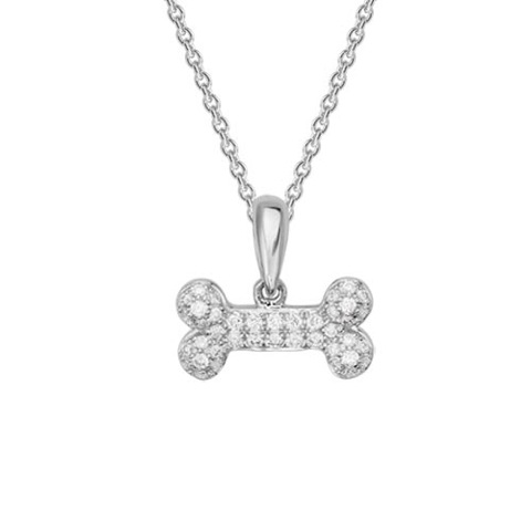 Diamond bone necklace 14kt white gold lisa welch designs diamond collection dog themed jewelry pendants gnh92ltw12 dia bone neck aloadofball Gallery