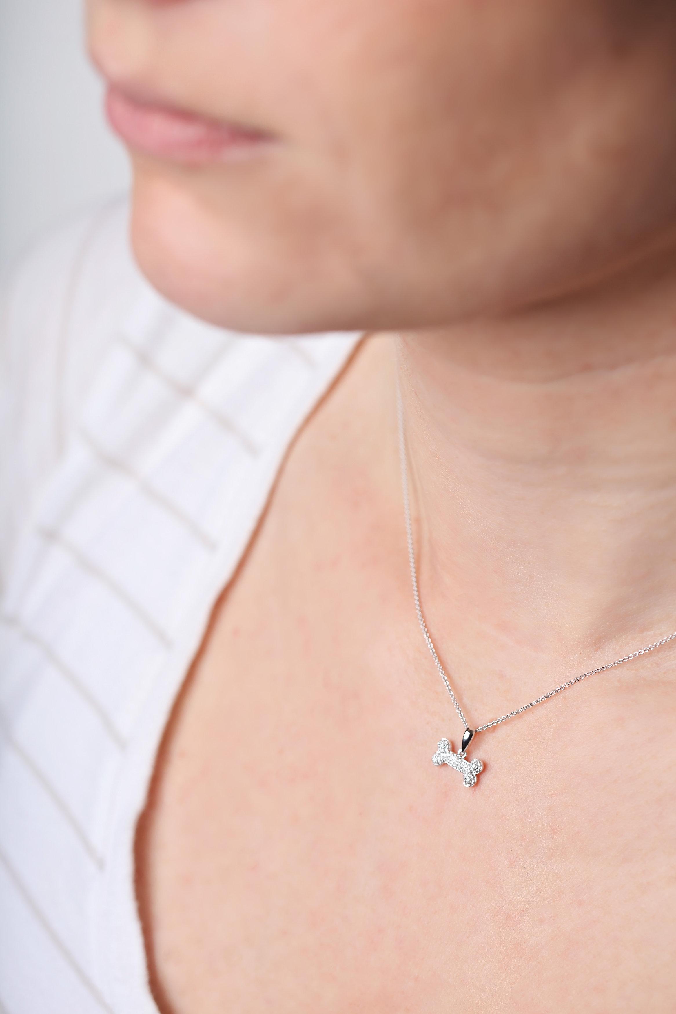 Diamond Bone Necklace 14kt white gold Lisa Welch Designs